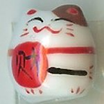 Hand Painted Porcelain Lucky Cat Bead - 001