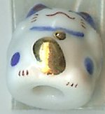 Hand Painted Porcelain Lucky Cat Bead - 004