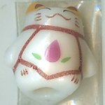 Hand Painted Porcelain Lucky Cat Bead - 008