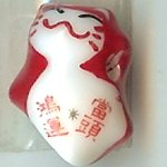 Hand Painted Porcelain Lucky Cat Bead - 012
