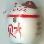 Hand Painted Porcelain Lucky Cat Bead - 015
