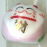 Hand Painted Porcelain Lucky Cat Bead - 028