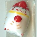 Hand Painted Porcelain Lucky Cat Bead - 033