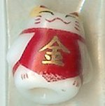 Hand Painted Porcelain Lucky Cat Bead - 034
