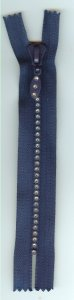 "6"" Rhinestone Zipper - Navy Blue"