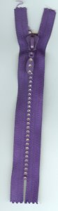 "6"" Rhinestone Zipper - Purple"