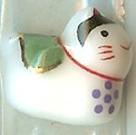Hand Painted Porcelain Lucky Cat Bead - 007