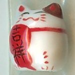 Hand Painted Porcelain Lucky Cat Bead - 027