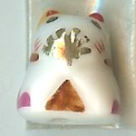Hand Painted Porcelain Lucky Cat Bead - 029