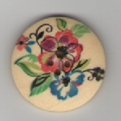 Painted Wooden 4 hole Button B17